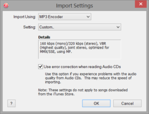 iTunes - Import Settings